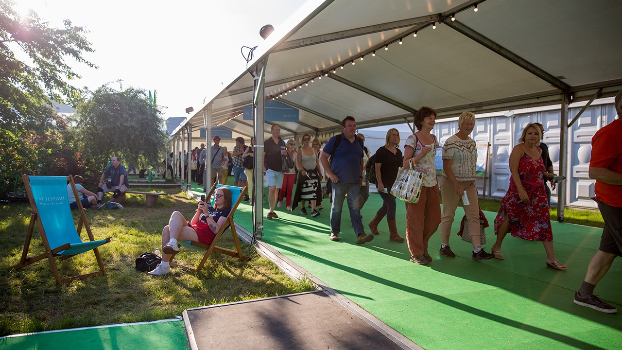 Festival-goers on Hay Festival site