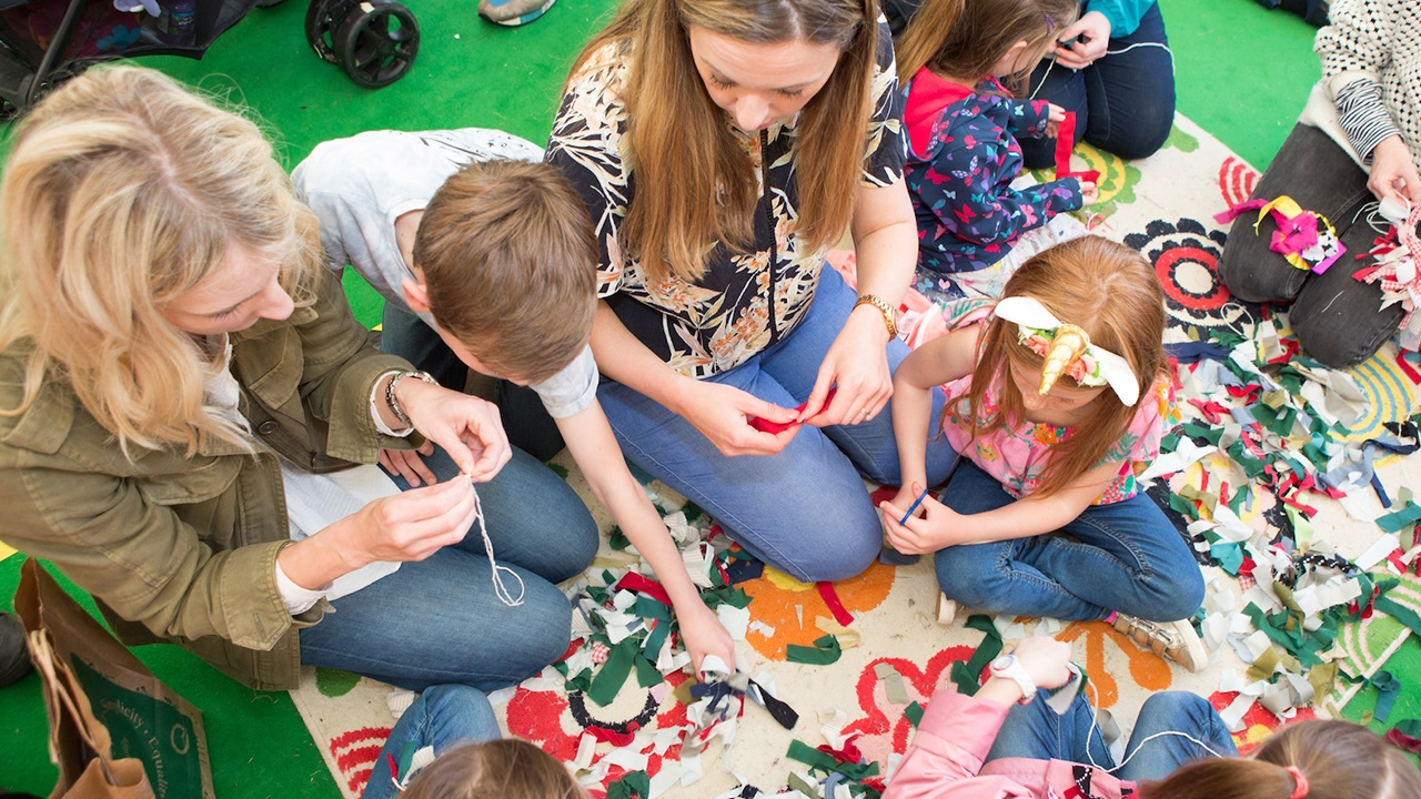 Children in Make & Take Tent at Hay Festival