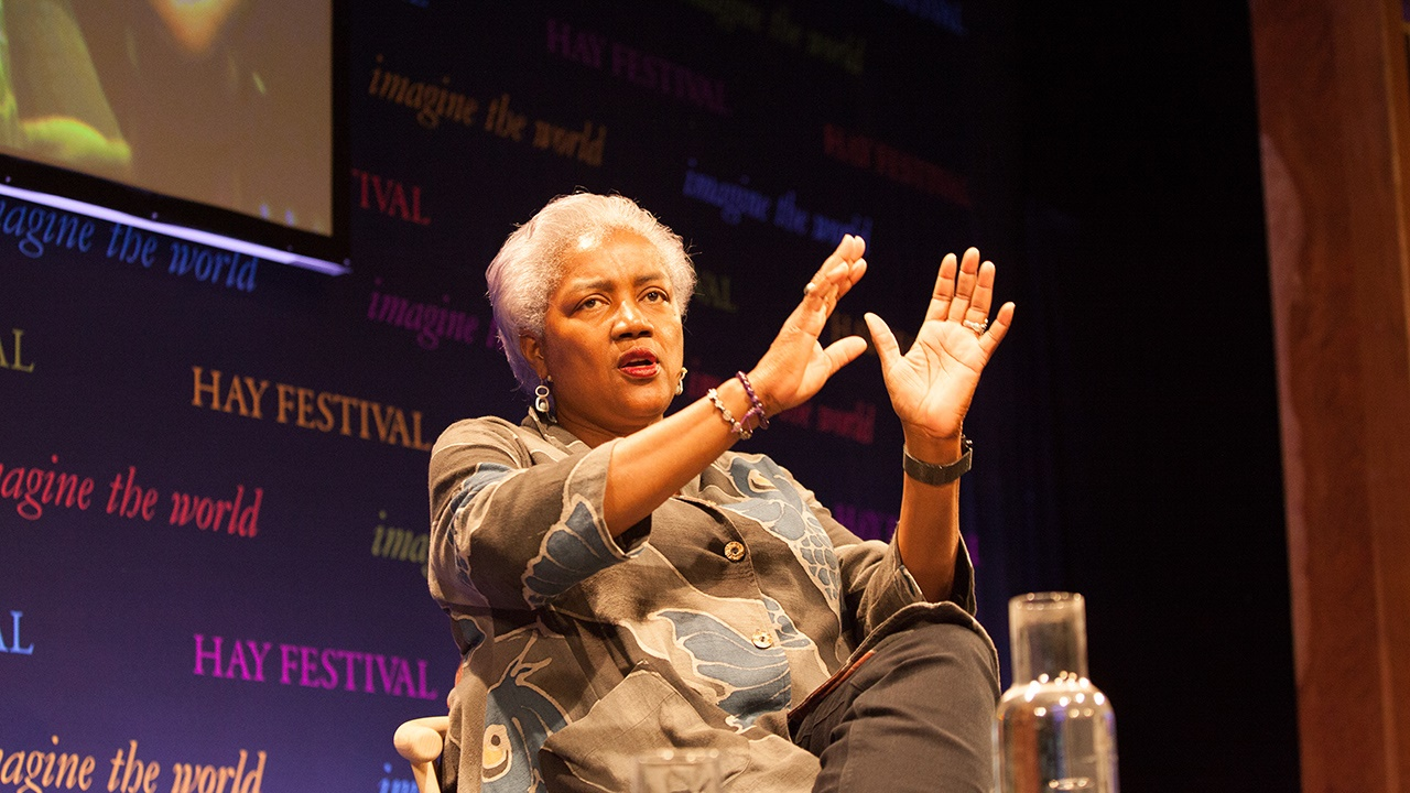 Donna Brazile on stage at Hay Festival