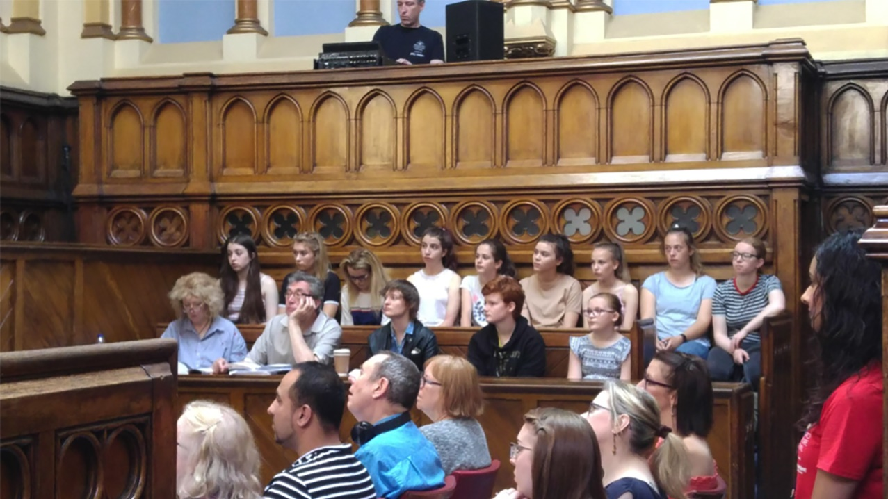 Fairfield High School pupils in courtroom for Crime Writers workshop in Bradford