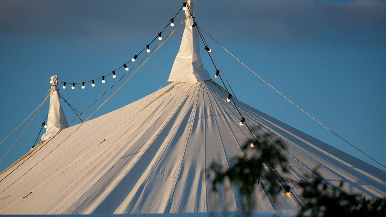 Hay Festival tent tops at twilight