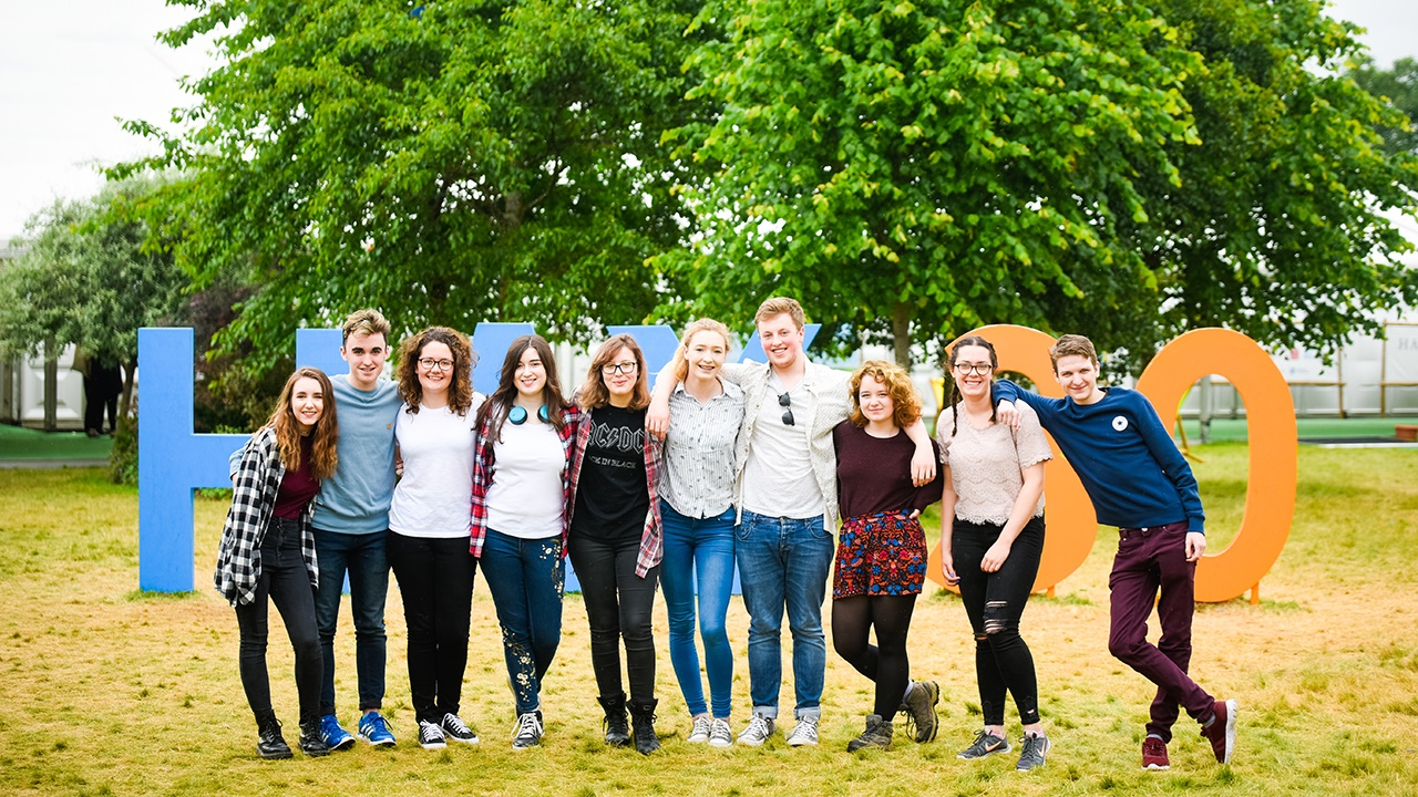 Group of students at Hay Festival