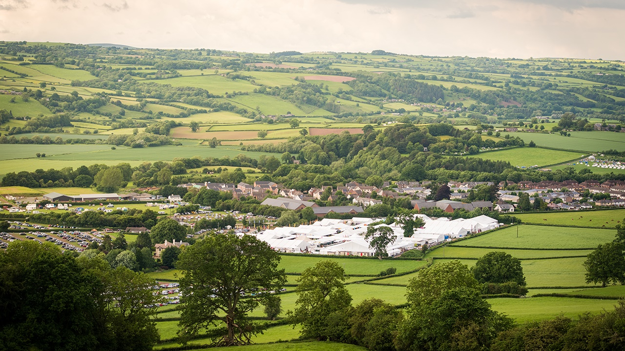 Hay Festival site and surrounding fields and woodland