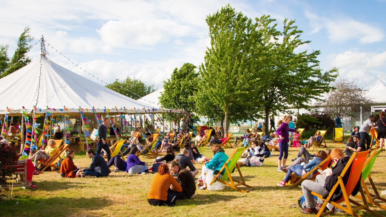 Hay Festival site in the sunshine