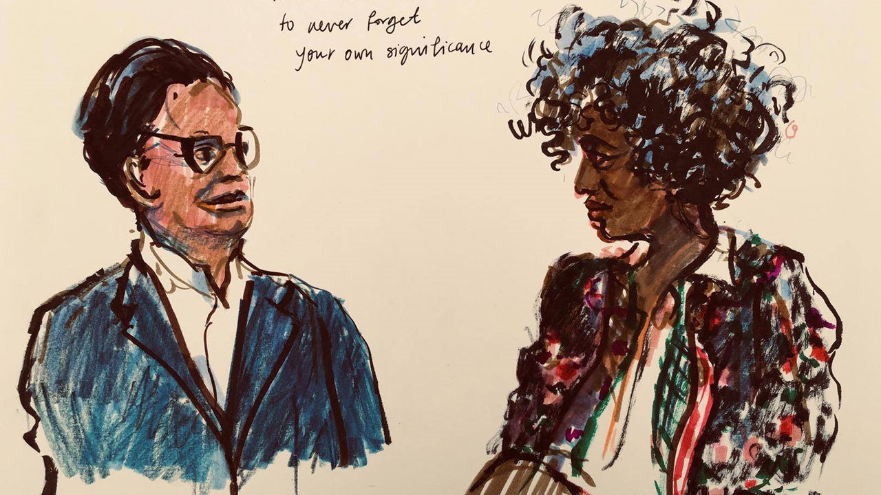 Arundhati Roy at Hay Festival. Illustration by Henny Beaumont