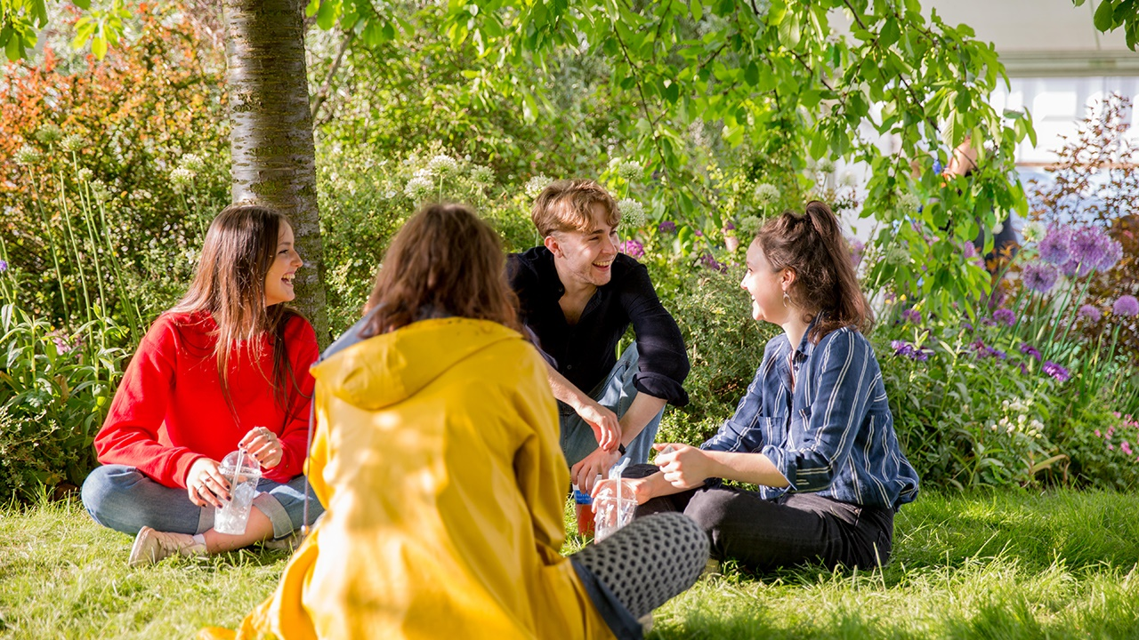 Teenagers chatting at Hay Festival