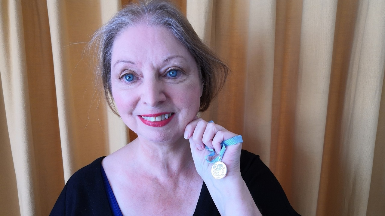 Hilary Mantel with Hay Festival Prose Medal