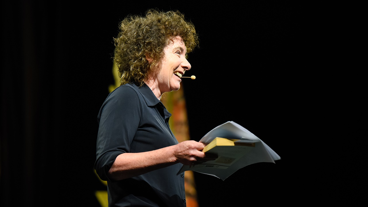 Jeanette Winterson speaking at Hay Festival