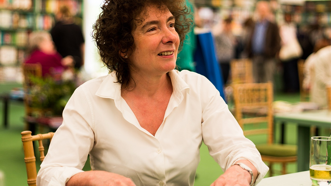 Jeanette Winterson signing books at Hay Festival
