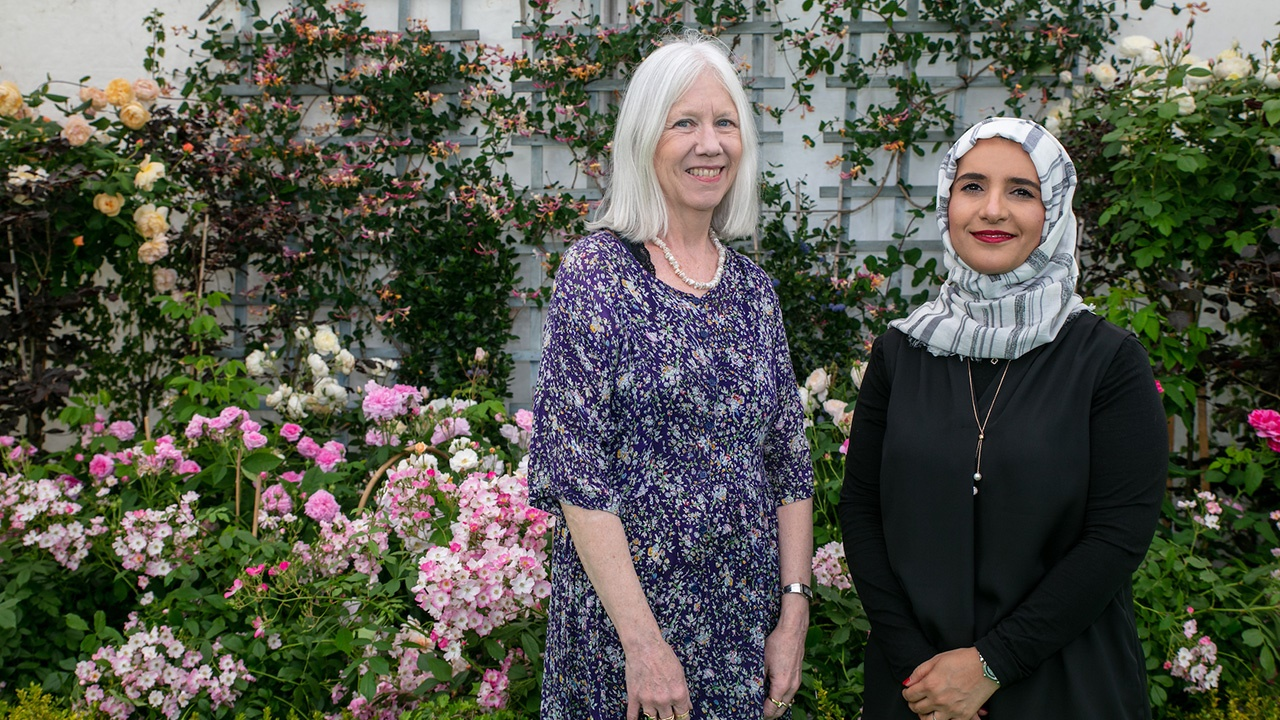 Marilyn Booth and Jokha Alharthi at Hay Festival Wales 2019. Photo by Chris Athanasiou.