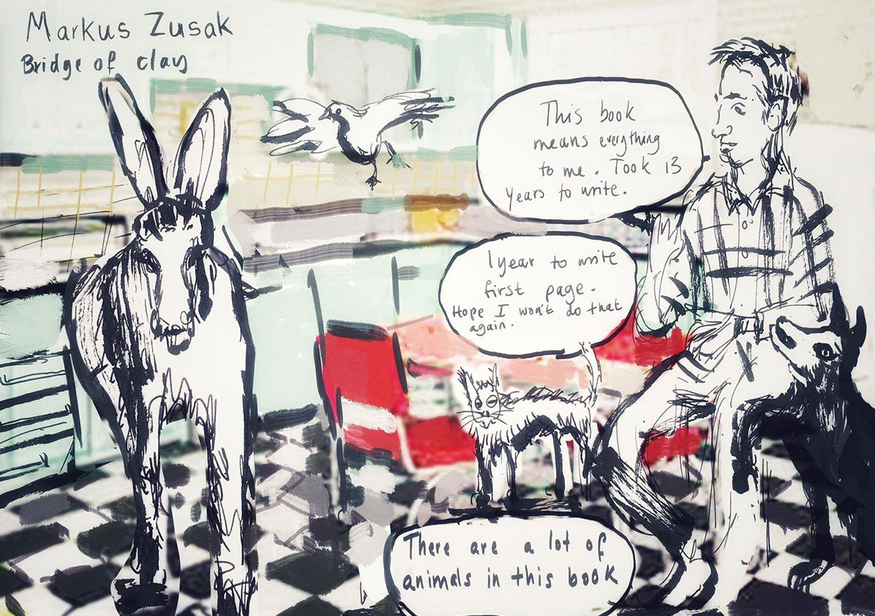Markus Zusak at Hay Festival. Illustration by Henny Beaumont