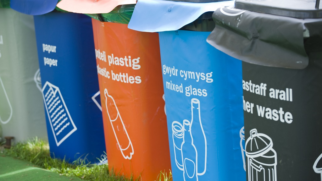 Recycling bins on Hay Festival site