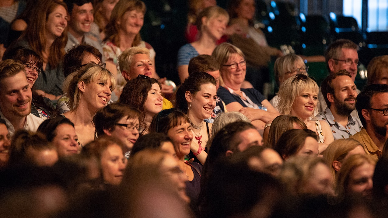 Laughing audience at Hay Festival