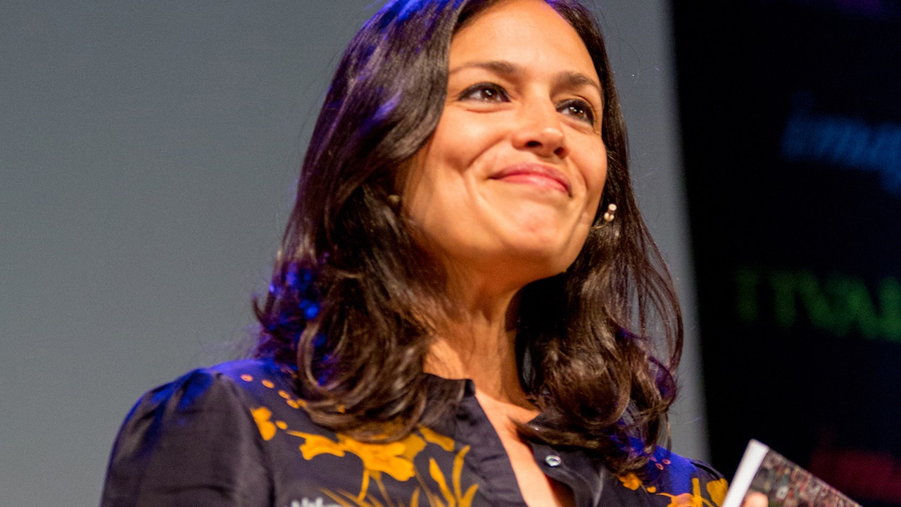Tishani Doshi on stage at Hay Festival