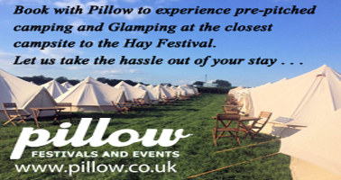 Camping by Pillow Wye Meadow Hay Festival