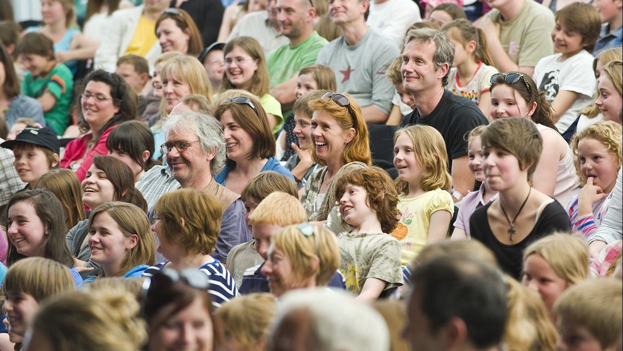 Audience in BBC tent at Hay Festival