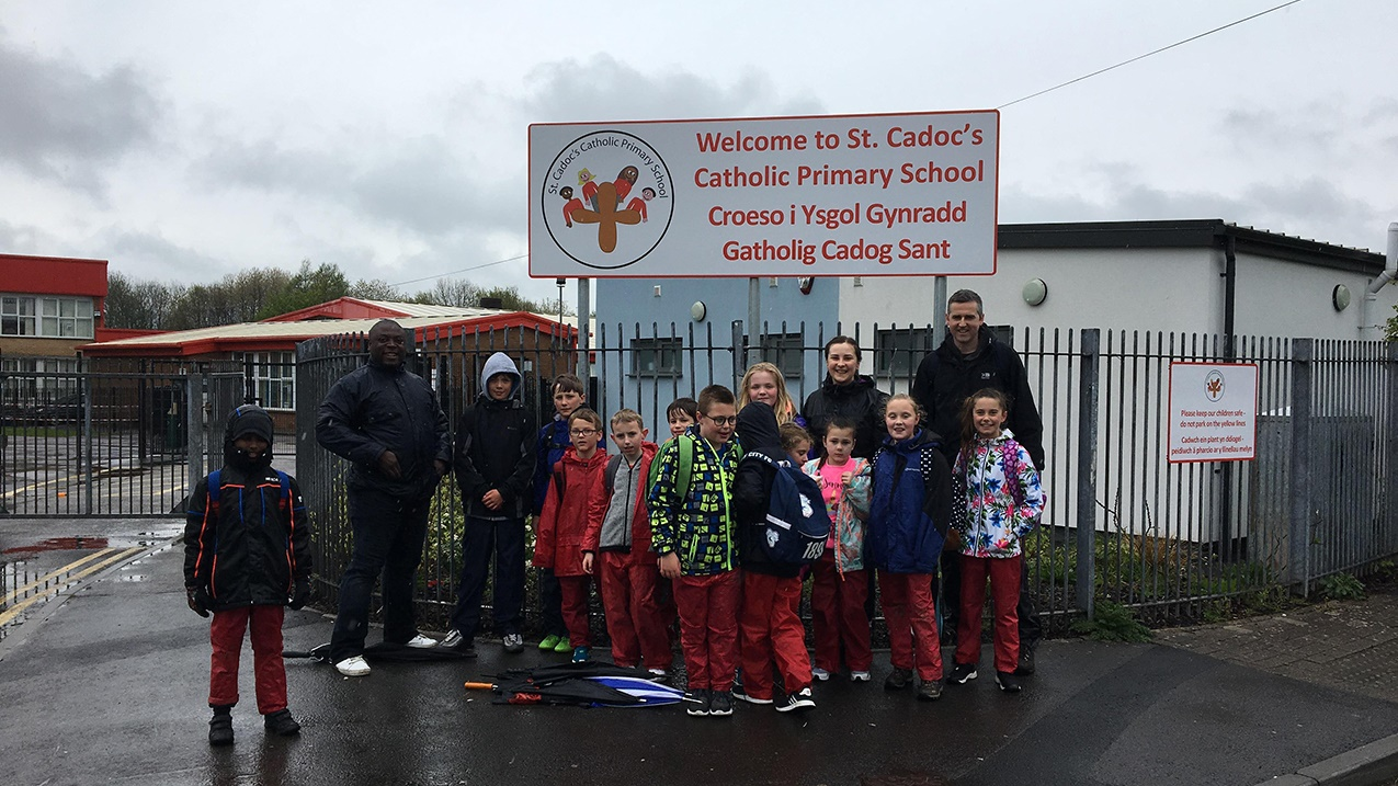 Welsh schoolchildren sponsored walk