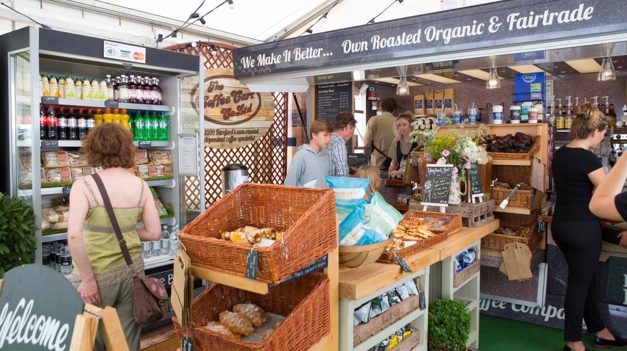 Trade stands at Hay Festival