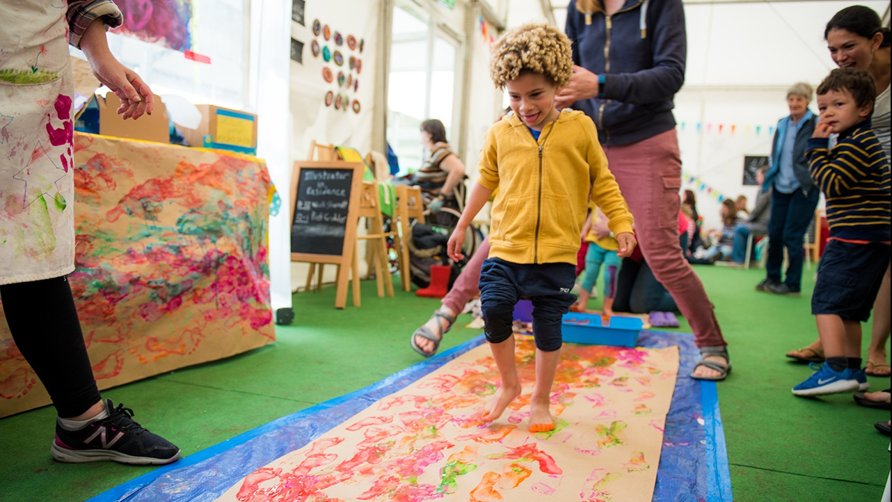 Getting messy with paint at Hay Festival