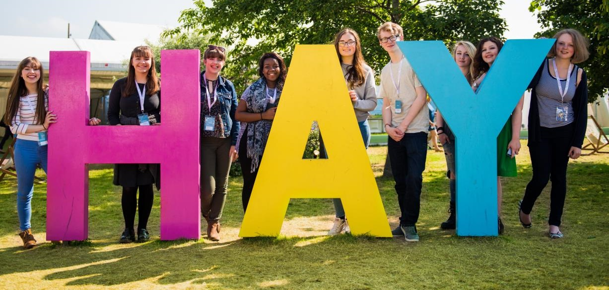 Students on the Hay Festival site