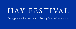 Hay Festival English and Spanish logo white on blue