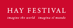 Hay Festival English and Spanish logo white on red