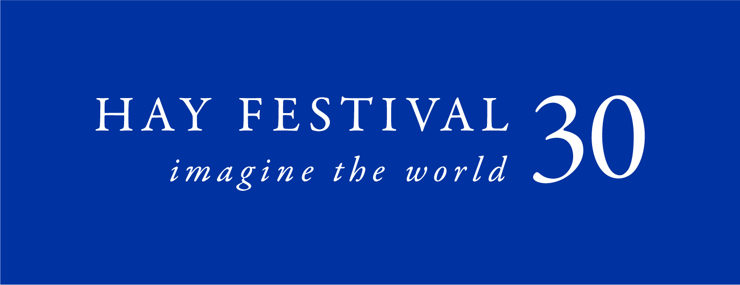 Hay Festival 30 logo white on blue