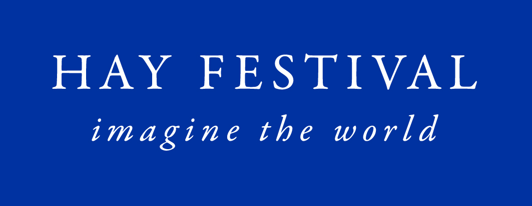 Hay Festival logo white on blue