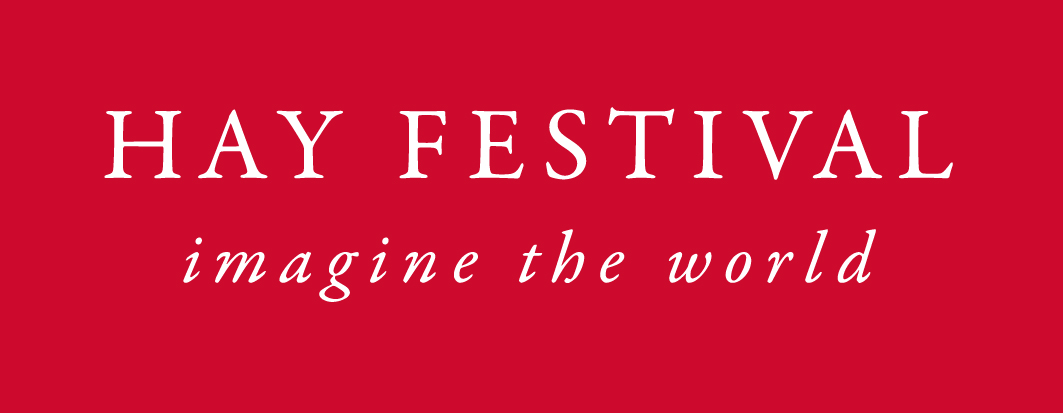 Hay Festival logo white on red