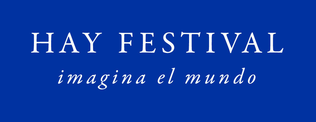 Hay Festival Spanish logo white on blue