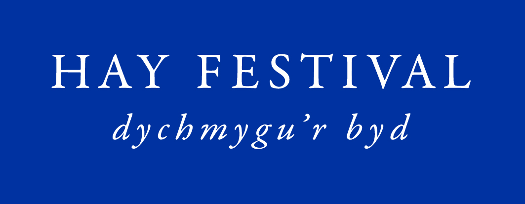 Hay Festival Welsh logo white on blue