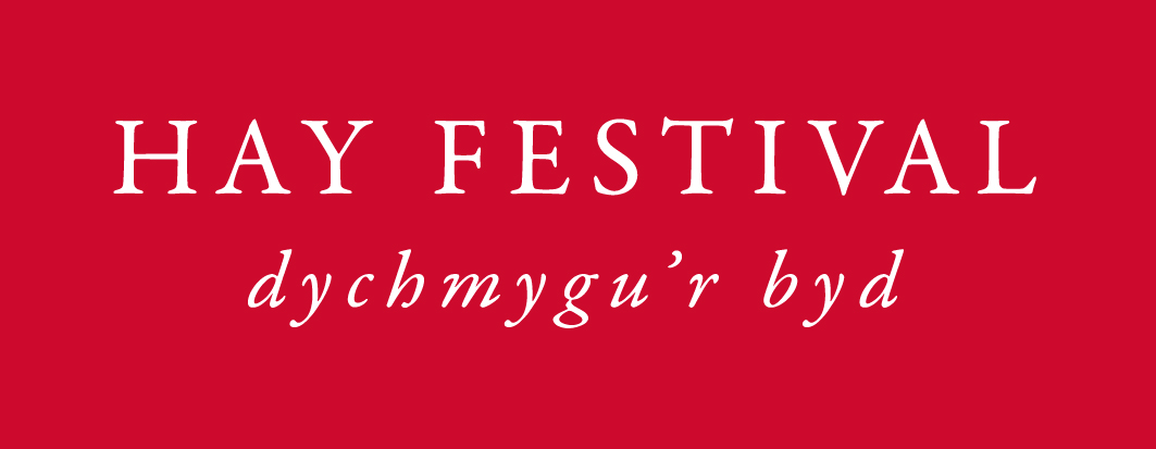 Hay Festival Welsh logo white on red
