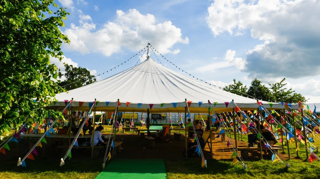 Hay Festival 2017 marquee with bunting