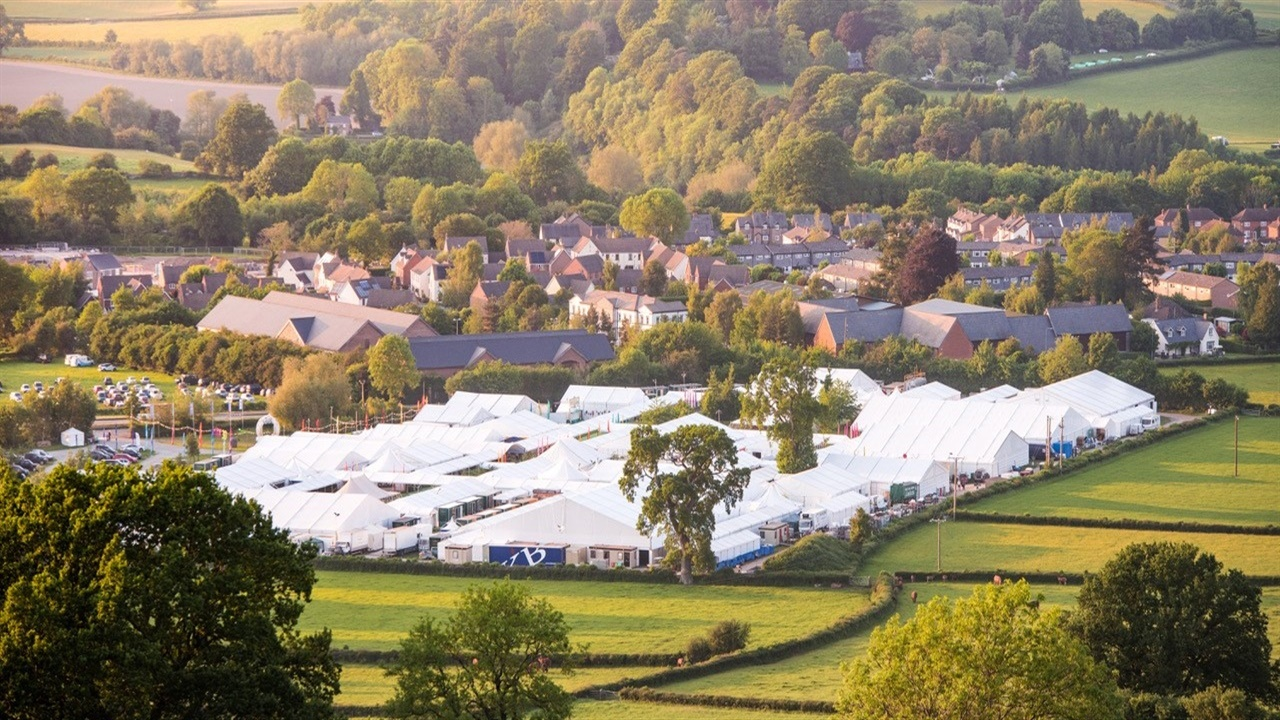 The Hay Festival site located in Hay-on-Wye