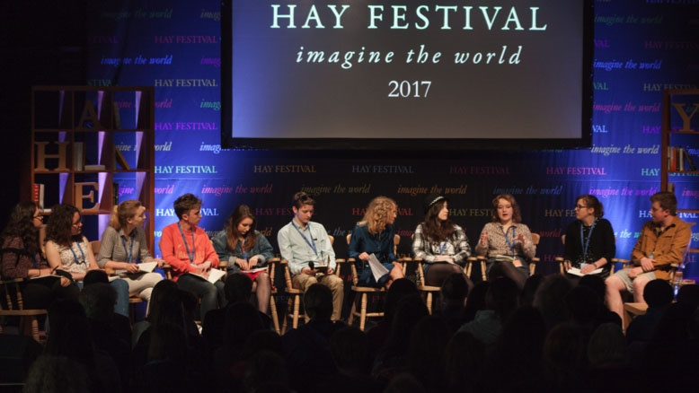 Jenny Valentine with young people on stage at Hay Festival