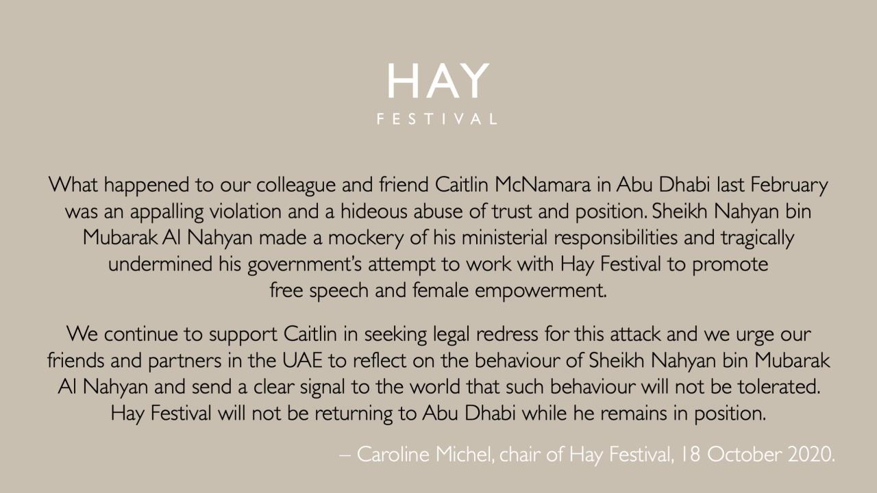 A statement from Caroline Michel, chair of Hay Festival