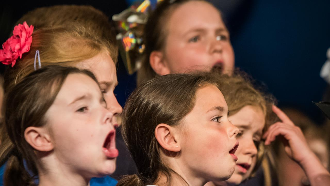 Local children on stage at the Hay Festival schools choir concert.
