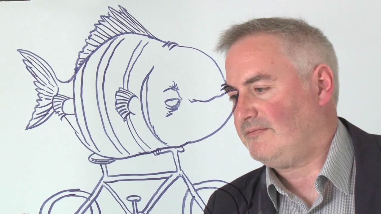 Chris Riddell drawing a fish on a bicycle