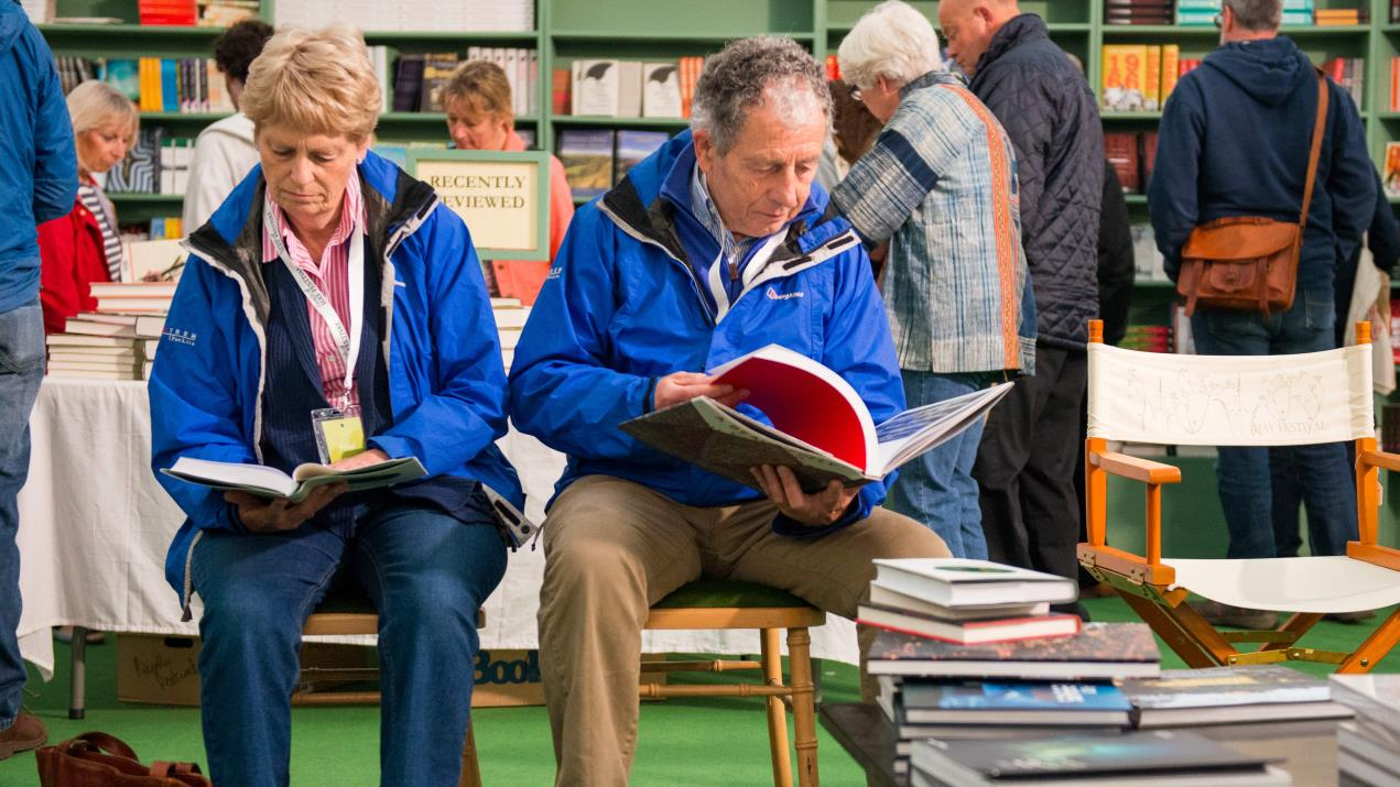 people people reading in Hay Festival Bookshop