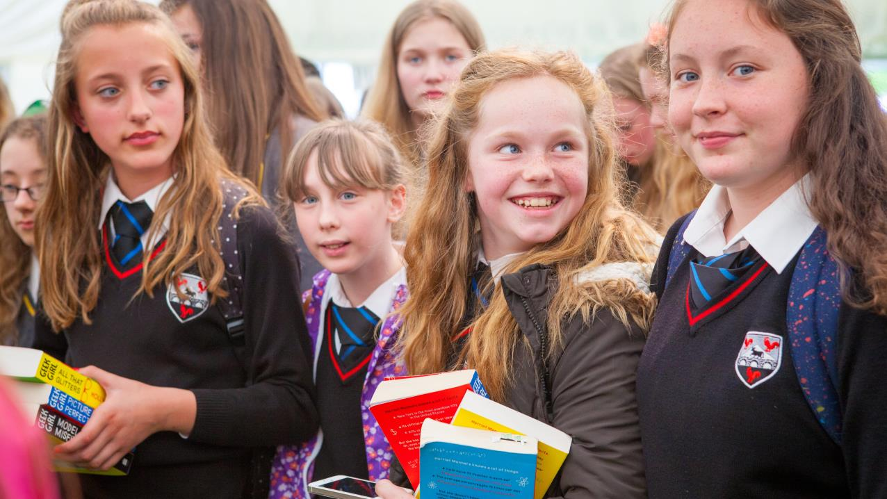 Girls at Hay Festival Schools Day