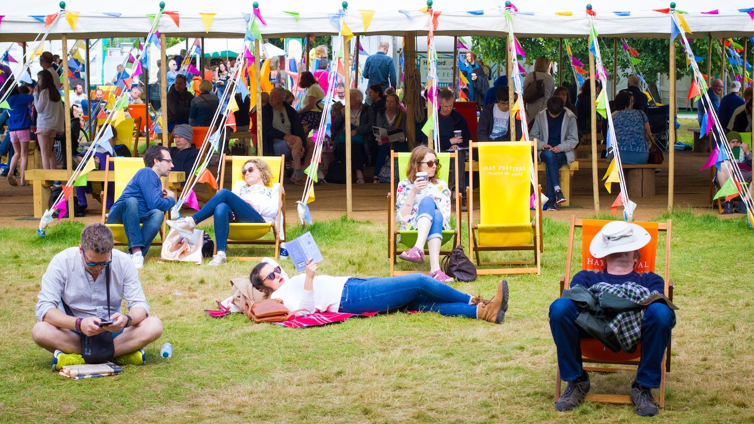 Reading on grass at Hay Festival