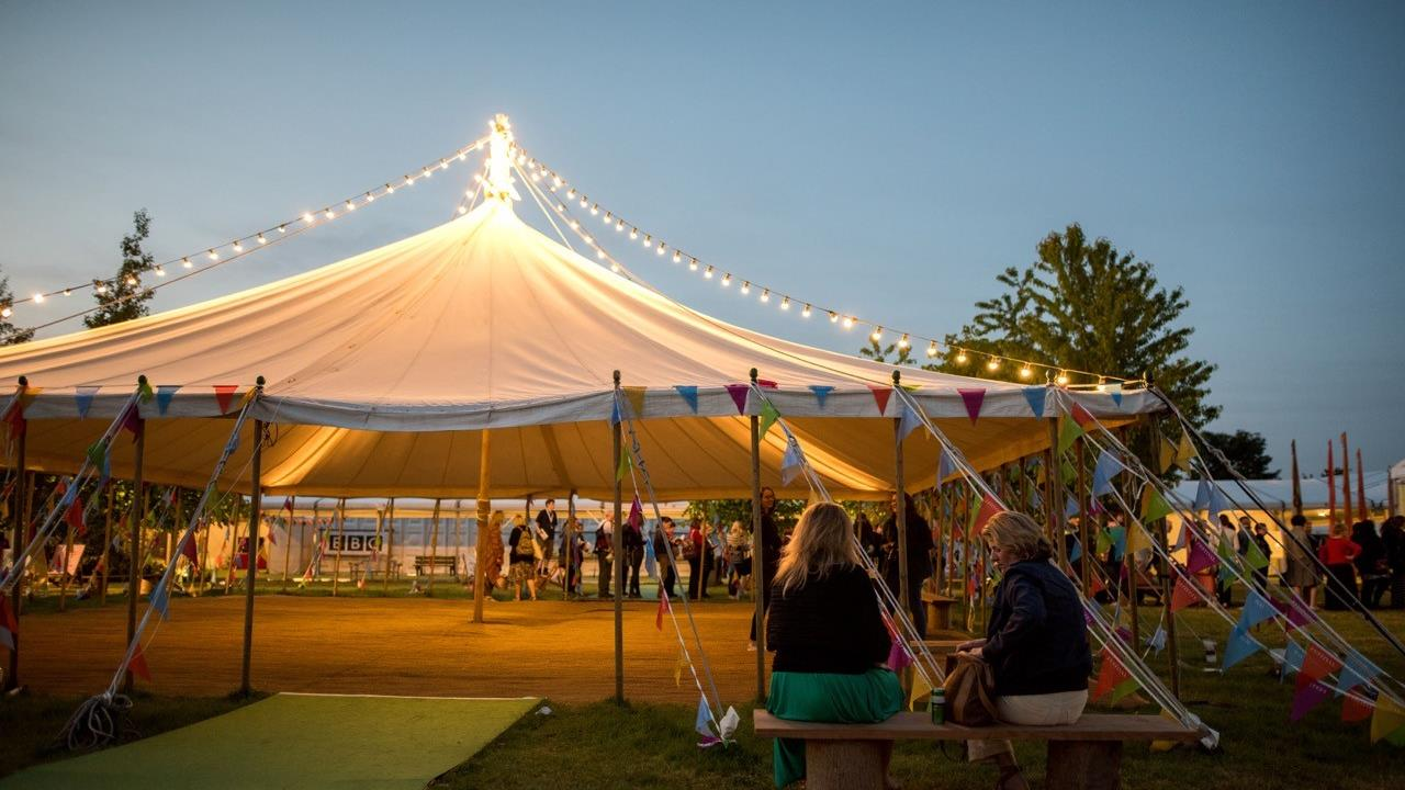 Hay Festival open-sided tent in the evening