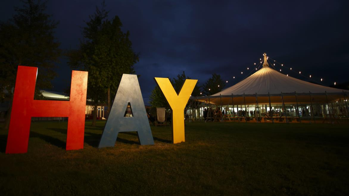 HAY sign at night