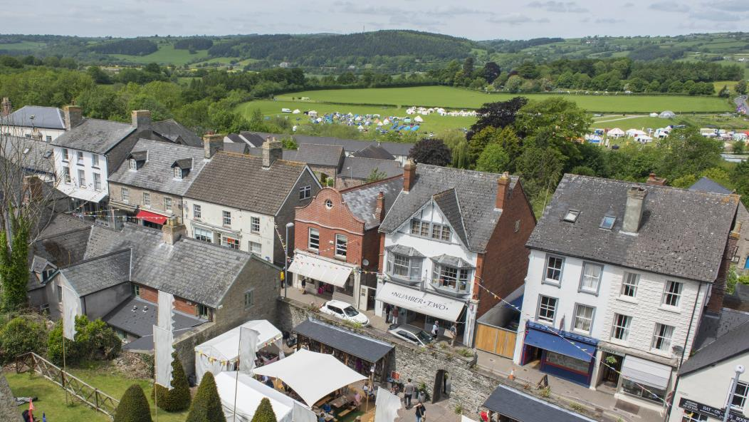 aerial view of buildings in Hay-on-Wye