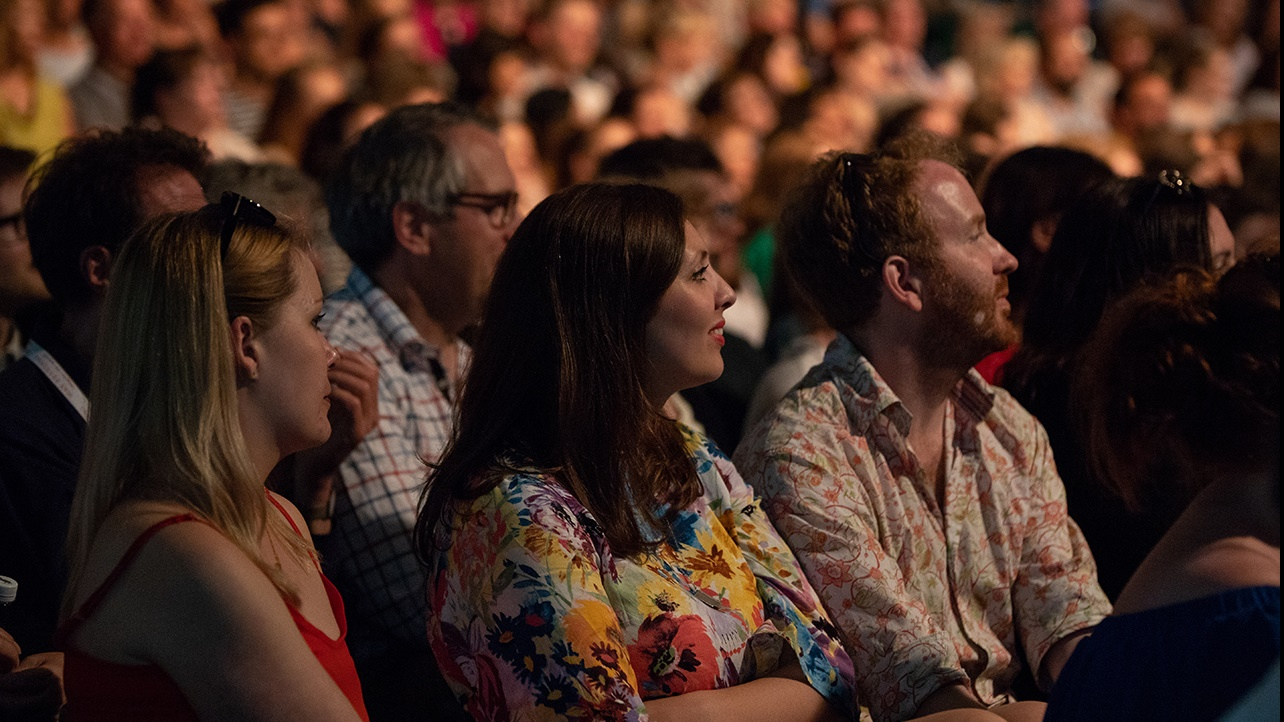 Listening audience at Hay Festival