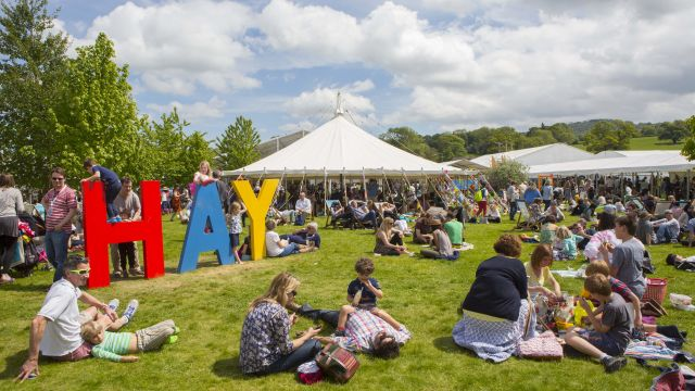 Hay Festival Wales festival site in sunshine