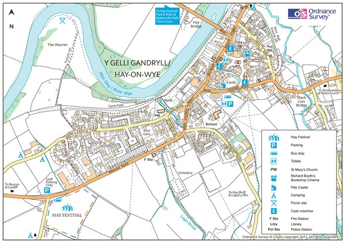 Hay On Wye Map Maps and directions to Hay Festival in Wales