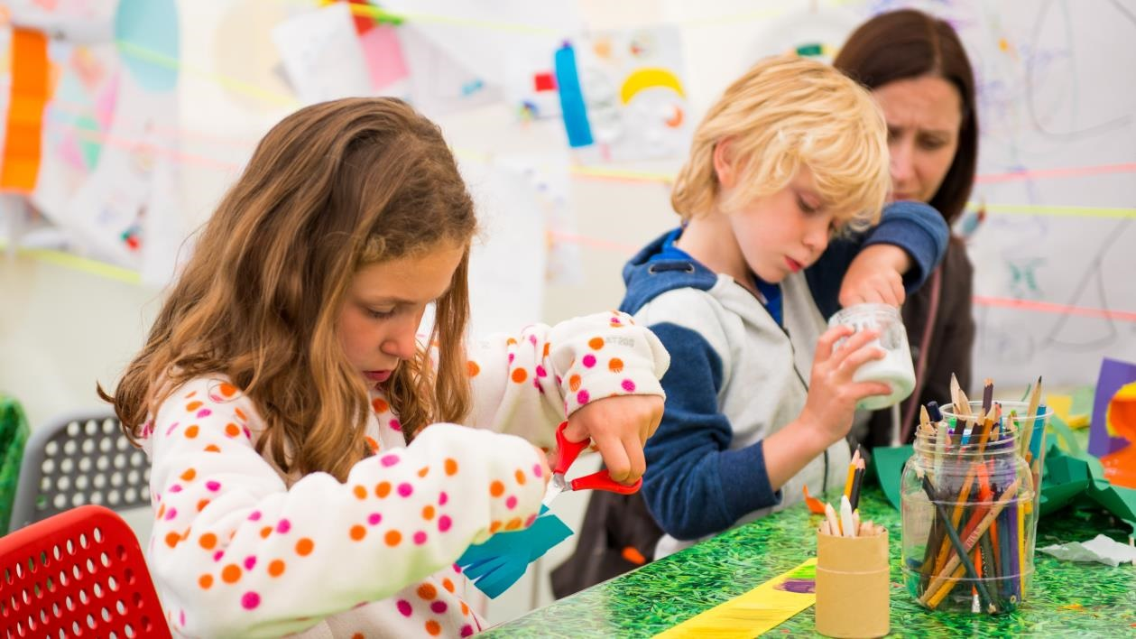 Children crafting at Hay Festival