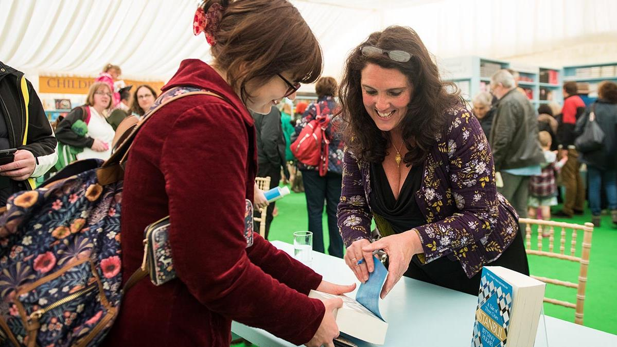 bettany hughes signing in hay festival bookshop