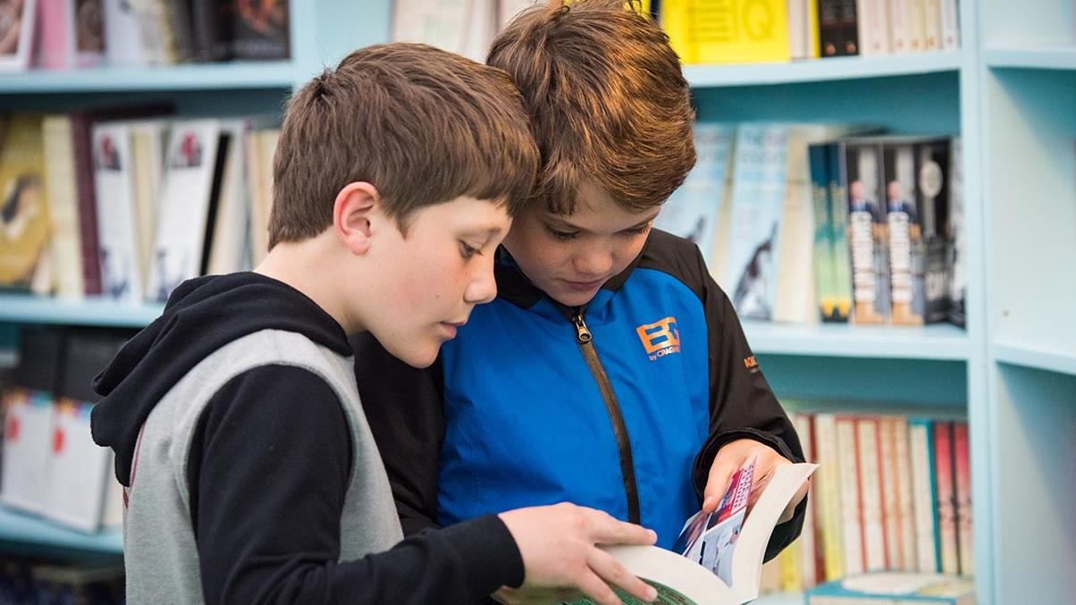 boys in hay festival bookshop